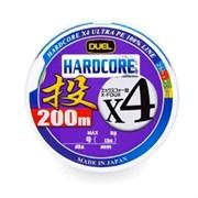 Плетеный шнур DUEL PE HARDCORE H3290 x4 200m №1,2 4Color max.9kg