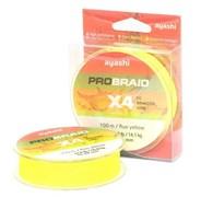 Плетеный шнур Ayashi Pro Braid-X4 0,14мм fluo yellow PRO-X4-F0.14